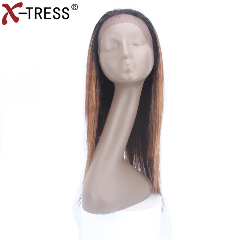 X-TRESS Straight Lace Front Wigs With Baby Hair 22 Heat Resistant Fiber Glueless Free Part Ombre Synthetic Wigs For Black Women