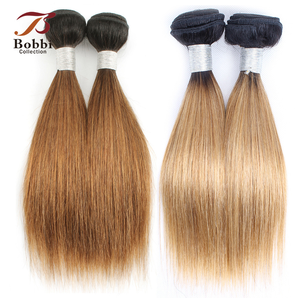 Dark-Brown Hair-Weave Human-Hair Blonde Bobbi-Collection Indian 2-Bundle Straight Ombre