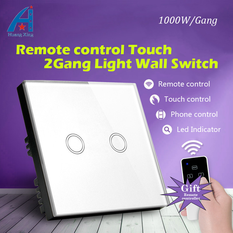 HUANGXING, UK Standard 1000W Wireless Remote control 2 Gang 1 way New Touch Switch, Crystal Glass Panel 220V lamp Wall switch uk standard remote touch wall switch black crystal glass panel 1 gang way control with led indicator high quality