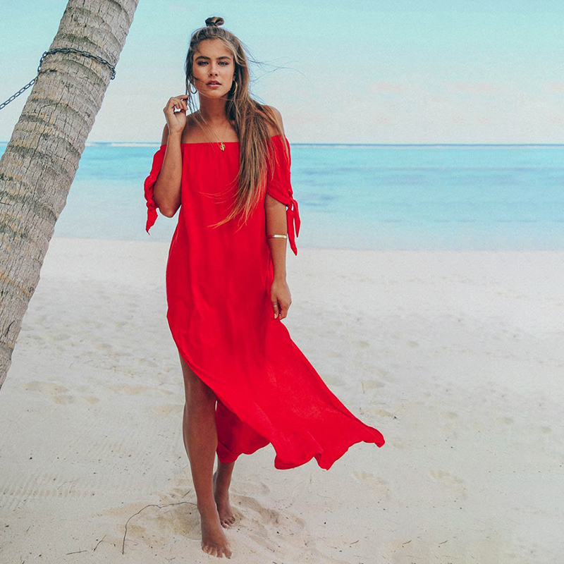 HENGSONG Summer Long Dress Women Casual Loose Solid Lace-up Off Shoulder Dress Slash Neck Female Party Dress 721274
