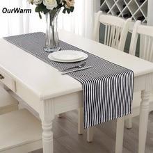 OurWarm 35*182cm Wedding Table Runner Elegant Black White Striped Tablecloth European Runners Home Decoration