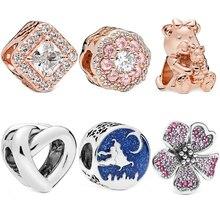 European Silver Rose gold Bear Cherry Flower Crystal DIY Bead Fit Original Pandora Charms Bracelet Trinket Jewelry Women