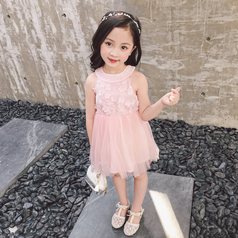 Girls dress summer children dresses crew neck strapless sexy fashion embroidery knee-length pink sleeveless dress girls 2016 new arrival casual draped a line dress clothes with regular crew neck knee length sleeveless for baby girls kids