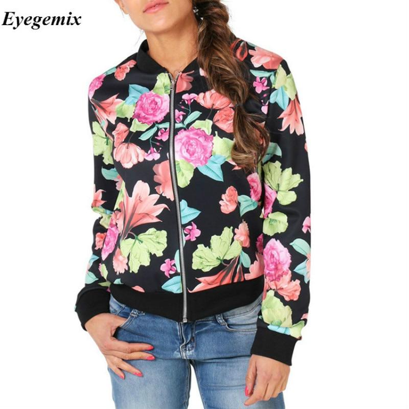 2017 Autumn Winter Bomber   Jacket   Long Sleeve Casual   Basic     Jackets   Jaqueta Feminina Floral Print Women   Basic   Coats Fashion