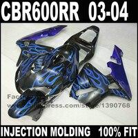 Дорога/гонки мотоцикл части для HONDA 2003 2004 CBR 600 F5 обтекатели комплекты CBR 600 RR 03 04 CBR600 RR синий пламя обтекателя кузов