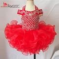 Vestido de Baile Menina de Flor da Princesa Vestidos 2016 Cristais Baratos Ruffles Organza vestido de Baile Crianças Pageant Vestidos para Meninas Glitz 10 12
