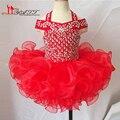 Vestido de Bola de Princesa Vestidos de Niña 2016 Baratos Cristales Ruffles Organza Niños Prom Vestidos Del Desfile de Ostentación Niñas 10 12