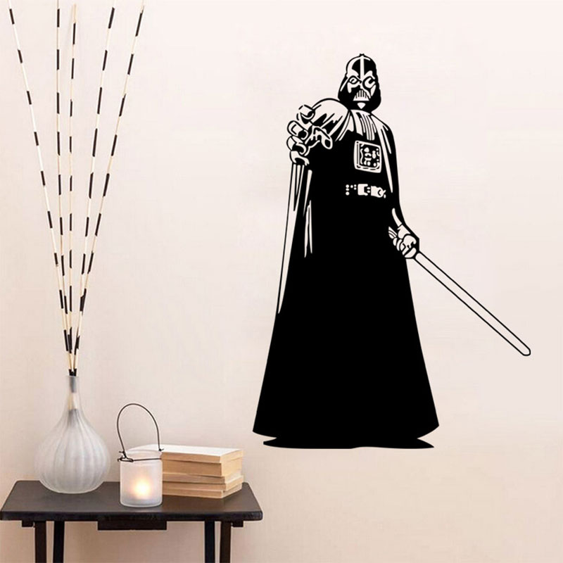 Creative Home Decor Plane Wall Stickers Star WarsJedi Knight Pattern For Living Room Black 43*91 CM Mural Art Decals Wallpaper