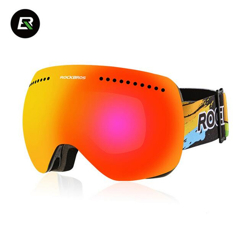 ROCKBROS óculos de Esqui Snowboard Ímã oggles Homem Mulheres Anti-Nevoeiro  óculos À Prova de Vento Ciclismo moças Grande Spheral Myop Patinação Óculos c820b7485a