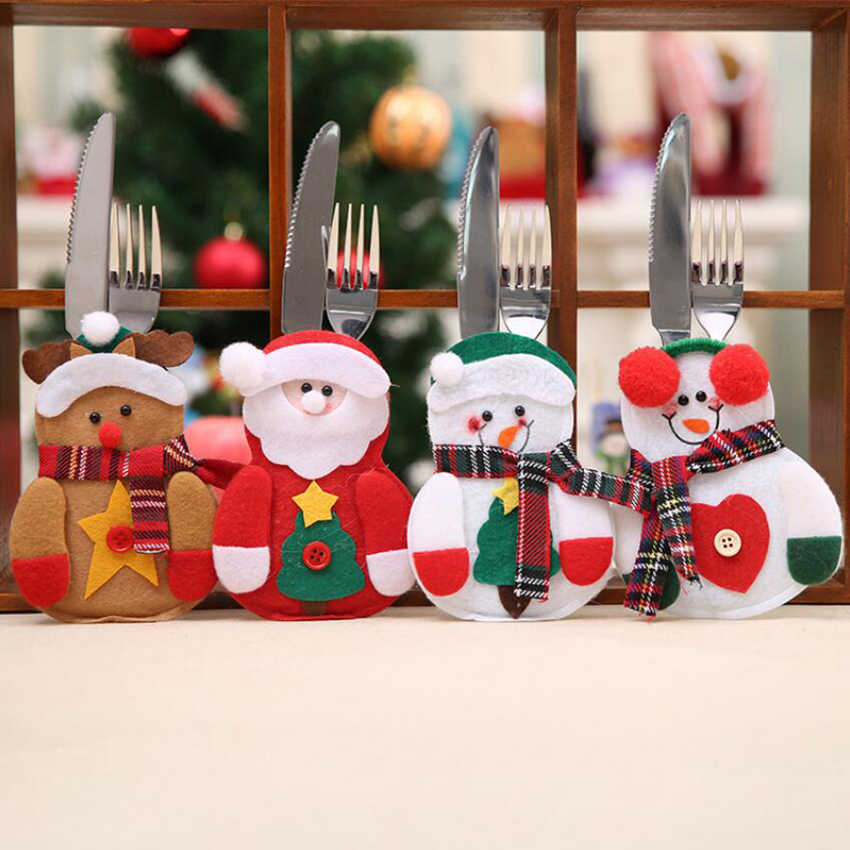 2018 New Year Merry Christmas Knife Fork Cutlery Set Skirt Pants Navidad Natal Dining Table Christmas Decorations for Home Xmas