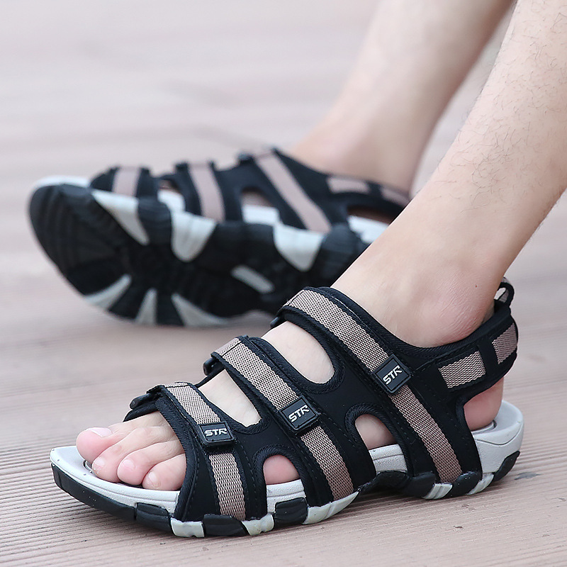 Fashion Casual Solid Gladiator Sandals for Men Basic Flat Beach Sandals Hook Loop PU Platform Sandale Homme 6