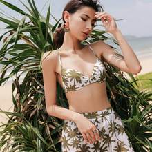 Three Pieces Swimsuits Women Halter Bathing Suits Women Leaf Print Swimwear High Waist Bikini Set Push Up Cover Up