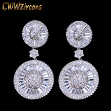CWWZircons Top Quality Stunning Cubic Zircon Micro Pave Bridal Big Round Drop Earring for Wedding Gift Accessories CZ257