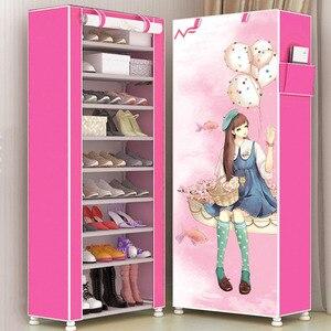 Image 3 - Armario de zapatos de gran capacidad, 10 capas, tela no tejida, dibujos animados 3D DIY, almacenamiento de zapatos, ahorrador de espacio, organizador de Zapatero