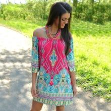 Lyprerazy 2017 Summer beach Dress Fashion Bohemian Boho Flower Print Off Shoulder Womens Casual Vintage Women Plus Size Dresses
