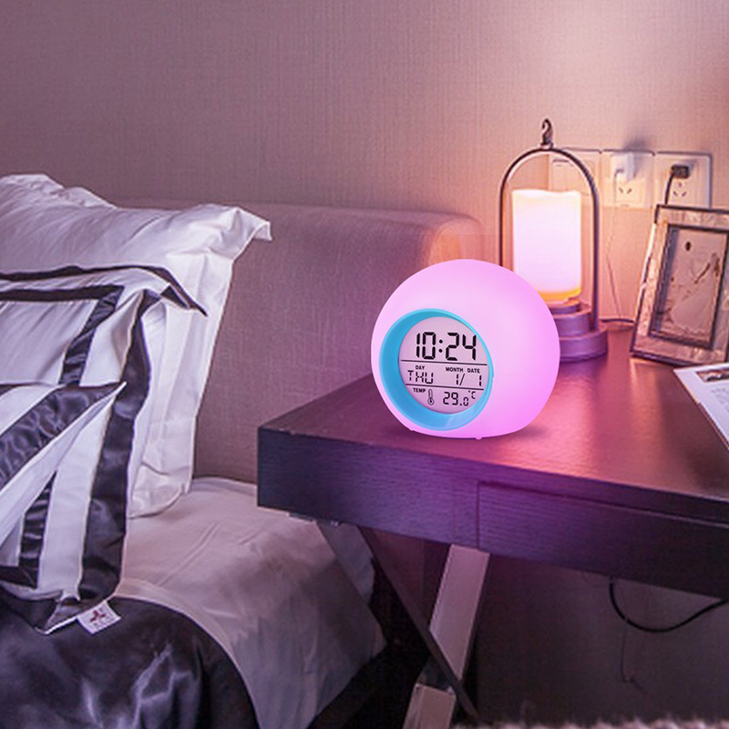 Creative change color alarm clock Round colorful light gradient alarm clock with Calendar Ball children alarm clock desktop