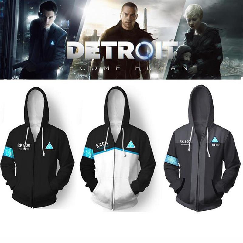 Detroit: Become Human Hoodies Cosplay Conner RK800 Harajuku Hip Hop Hooded Cool Coat Pullovers Punk Style Sweatshirts