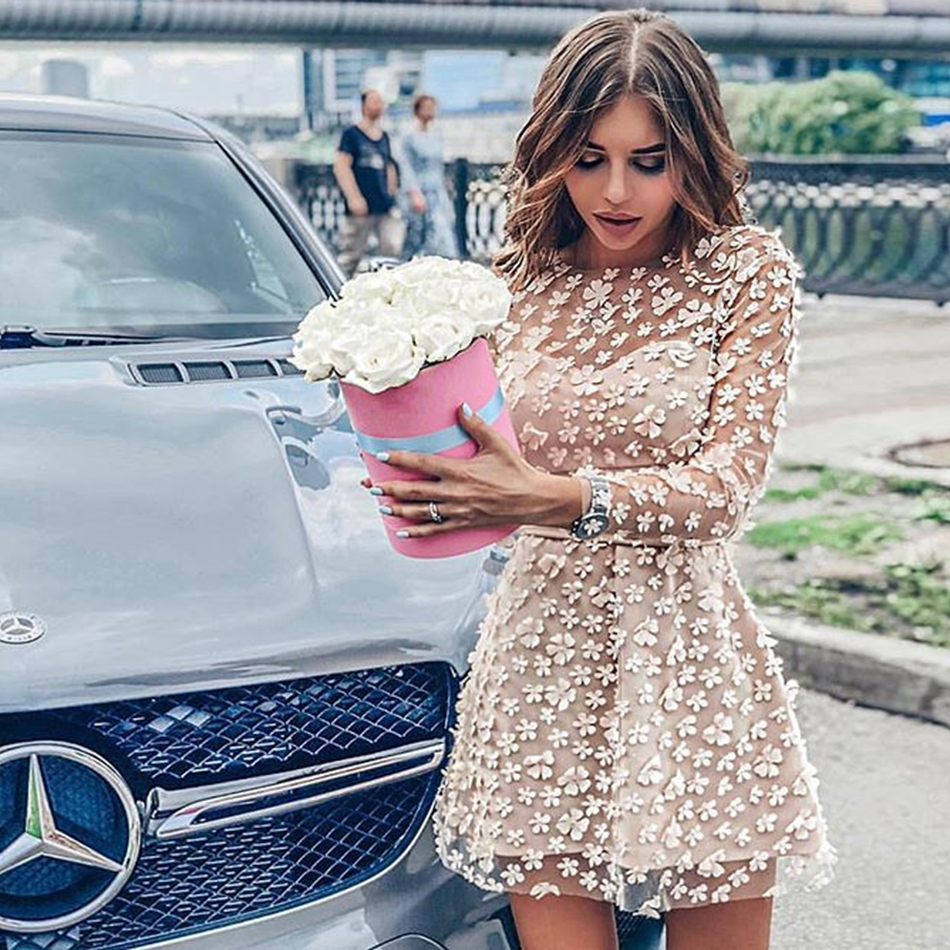 Image 3 - 2019 summer new elegant women's mini dress sky blue beige pink long sleeve lace A word dress celebrity party dress Vestidos-in Dresses from Women's Clothing
