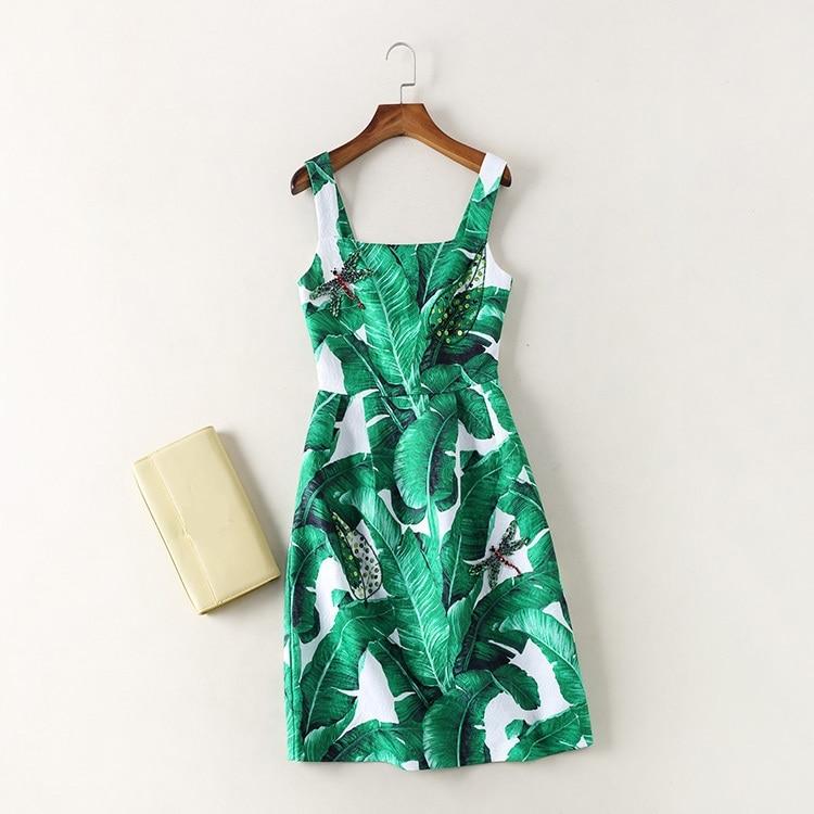 Green Leaf Pattern Dresses