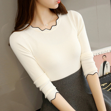 2019 Winter Women knitting Clothes Sweaters Pullovers tight slim Simple Bottoming shirt For Female