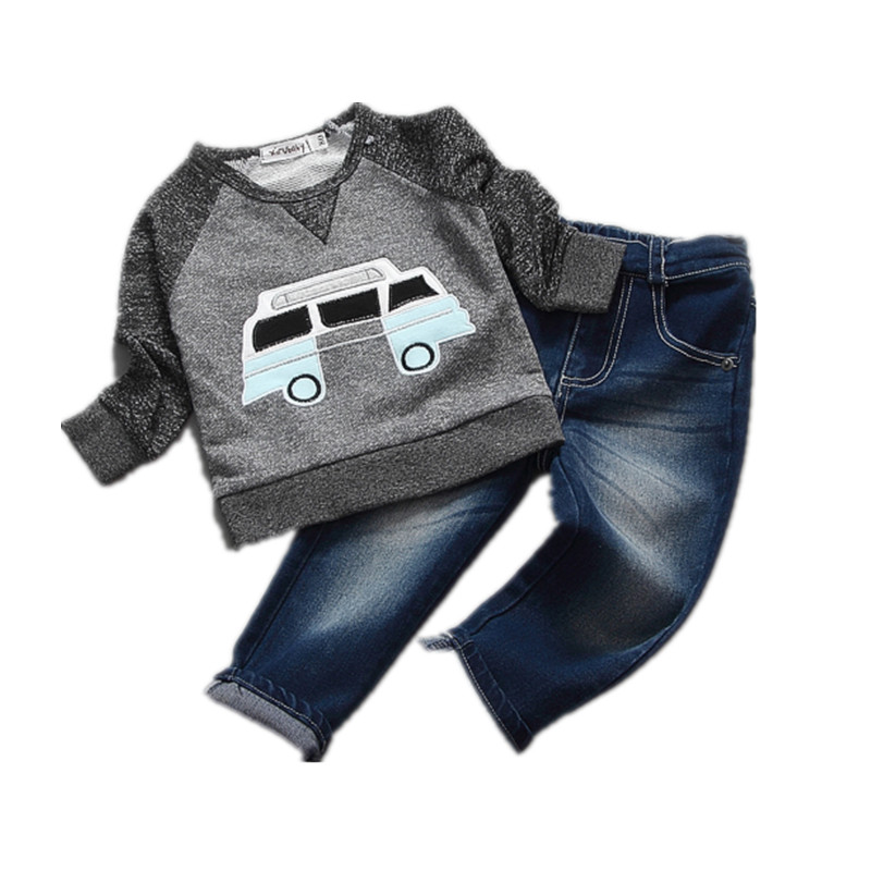 new style boys clothes car embroidery t-shirt+ jeans casual children clothing 2016 baby boy clothes