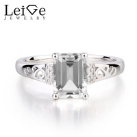 Leige Jewelry Solid 925 Sterling Silver Real Natural White Topaz Wedding Promise Rings Emerald Cut Gemstone