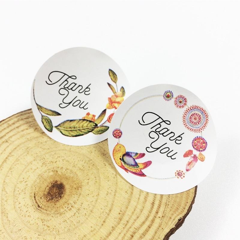 120pcs Flower Thank You Adhesive Baking Seal Sticker Cake Box Sealing Label Handmade