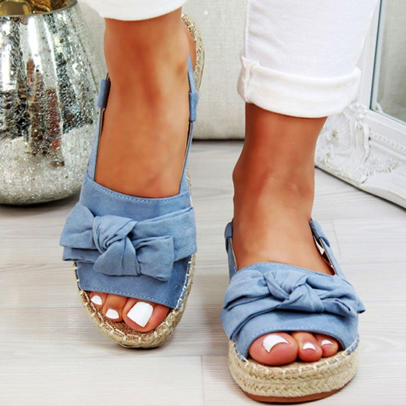 Oeak Womens Sandals Flats Sandals For Summer Shoes Woman Peep Bow Casual Shoes Sandalias Mujer For Women 2019