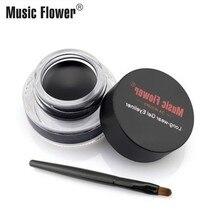 Music Flower Black Gel Eyeliner Waterproof With Brush 24 Hours Long-lasting Eyeliner Cream Brown Eye Liner Gel Brand Eye Makeup