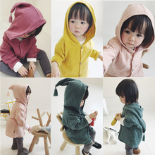 2019 Spring and Autumn Baby Girls boys Long Sleeve pure color coat cotton and linen Jacket Hooded cute Casual Outerwear