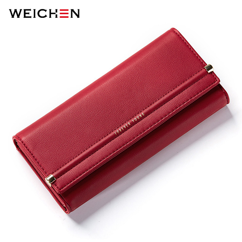 WEICHEN New Design Cell Phone Coin Pocket Money Purse Solid Hasp Long Women Wallet  Ladies Card Photo Holder Wallets Lady  Bag new fashion women leather wallet deer head hasp clutch card holder purse zero wallet bag ladies casual long design wallets