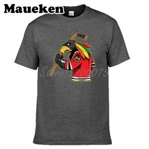 Image 5 - Men Chicago Fans Blackhawks 100% cotton T Shirts Tees Shirt O Neck Cotton Short Sleeve t shirt W19031511