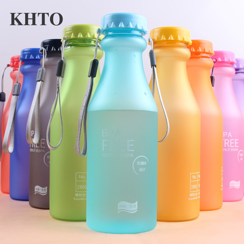 KHTO 550ML Portable Candy Color Sports Soda Bottle Unbreakable Plastic Water Bottle High Quality BPA Free