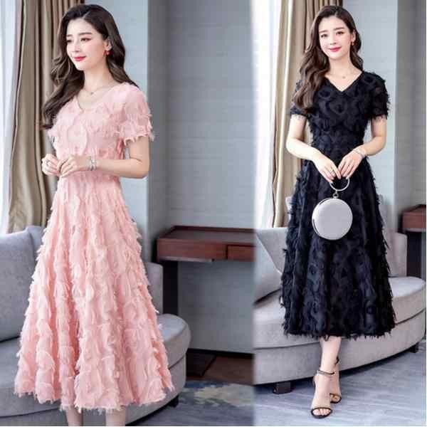 Plus Größe 3XL 2019 Sommer Rosa V Kragen Kurzarm Quaste Frau Chiffon Lange Kleid Party Boho Strand Maxi Kleid LJ720