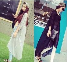 blouse rushed sale blusas 2014 spring and summer women's fashion long design bf loose shirt sun  clothing cardigan