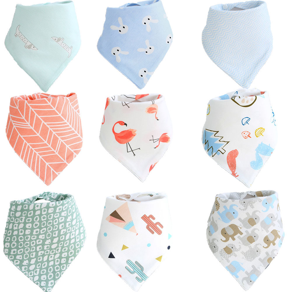Baby Boy Girl Feeding Head Scarf Towel Bib Kids Bandana Saliva Triangle Dribble