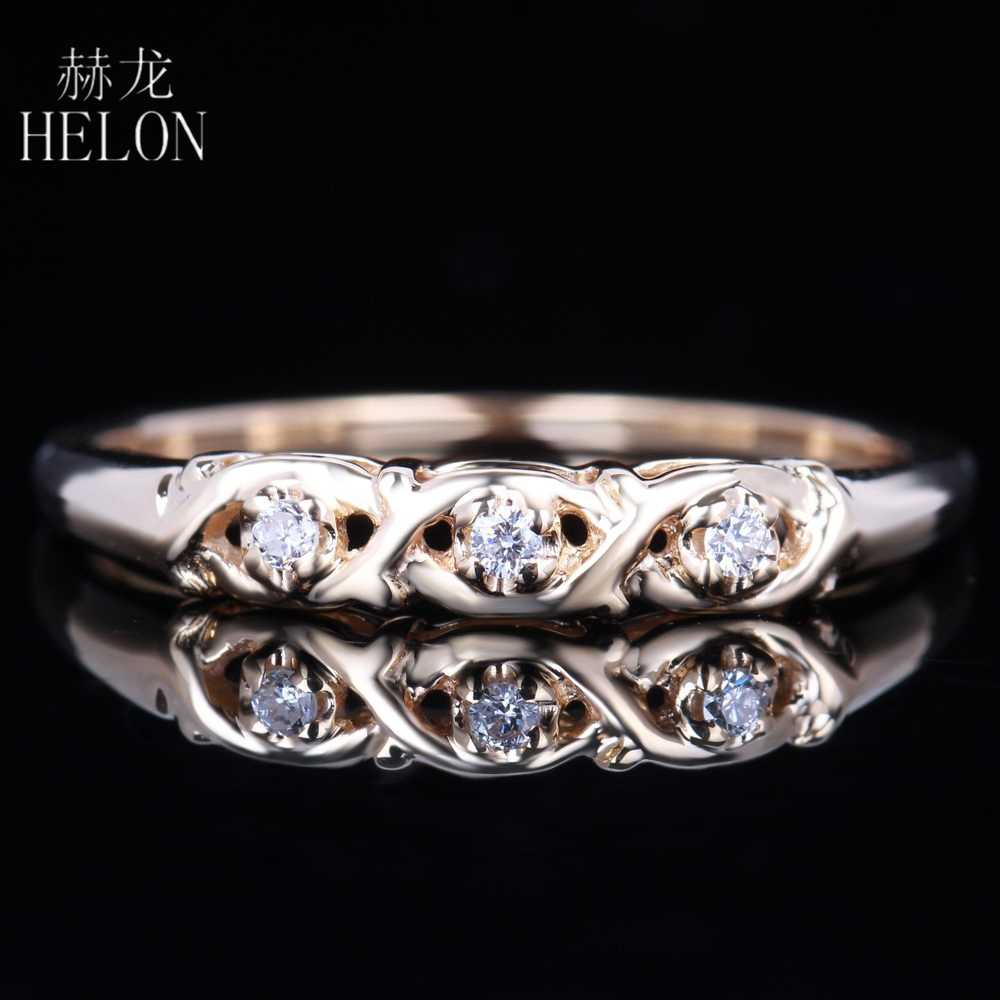 HELON Stylish Round SI/H Full Cut Diamonds Solid 14K Yellow Gold Anniversary Band Wedding Ring Women Elegant Ravishing Ring solid gold heart ring band elegant women ring