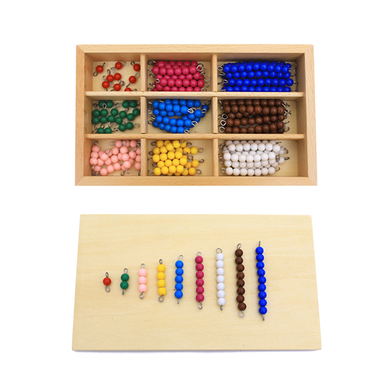 Kids Toys Montessori Materials Educational Wooden Toy Colorful Checker Board Beads Math Toys Early Childhood Preschool Training new wooden montessori family version brown stair width 0 7 cm to 7 cm early childhood education preschool training baby gifts