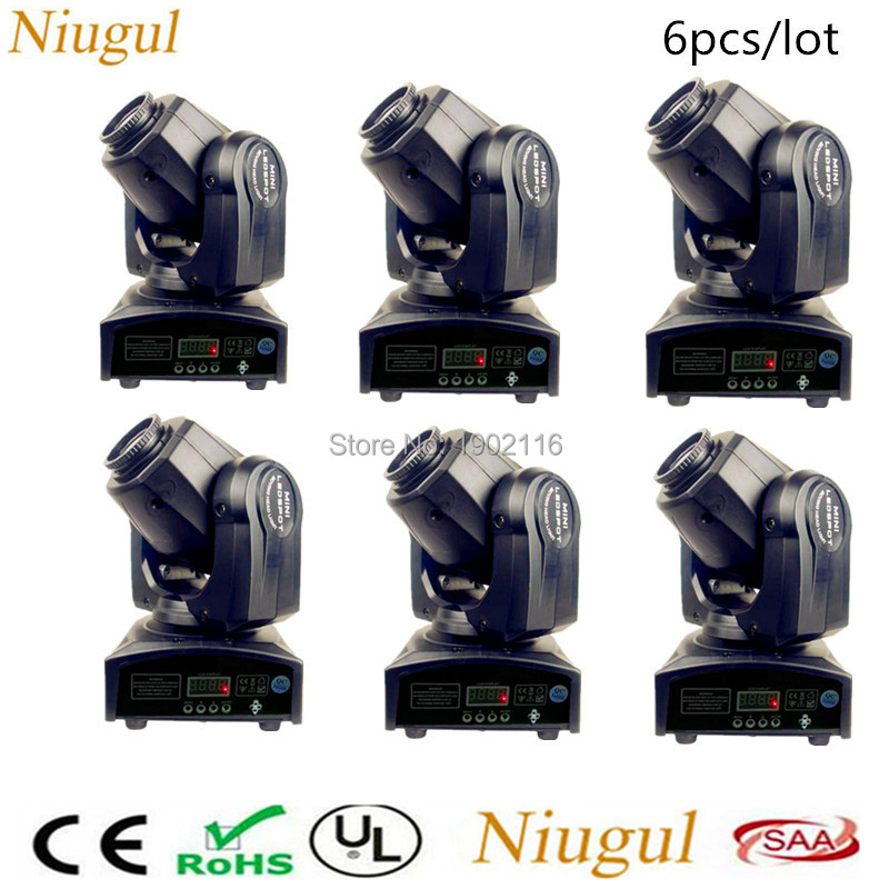 6pcs/lot 2018 New Upgrade 30W Mini Moving Head Led Stage Disco Dj Dmx512 Spot Lamp 30W LED Patterns Gobo Strobe Show Party Light 2017 hot 30w spot gobo moving head light led moving head spot stage lighting disco light professional stage