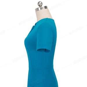 Image 5 - Nice forever Vintage Elegant Pure Color Irregular neckline Work vestidos Business Bodycon Office Party Women Sheath Dress B496