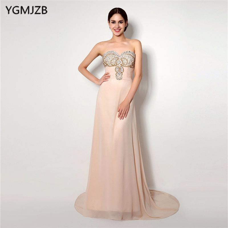 Champagne   Evening     Dresses   Long 2018 A-Line Sweetheart Off The Shoulder Glitter Beaded Crystal Chiffon Backless   Evening   Gown