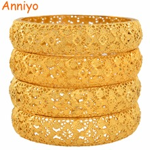 Anniyo 4 Pieces/Lot Gold Color Dubai Bangles for Women Ethiopian Bracelets Middle East Wedding Jewelry African Gifts #139006 anniyo 65cm necklace and earrings for women gold colo arab middle east wedding jewelry qatar dubai saudi arabia gifts 088706
