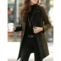 women wool blends Slim Coat winter Female Zipper Up pocket mid length Jacket Autumn office lady work sylish outwear 2019 England
