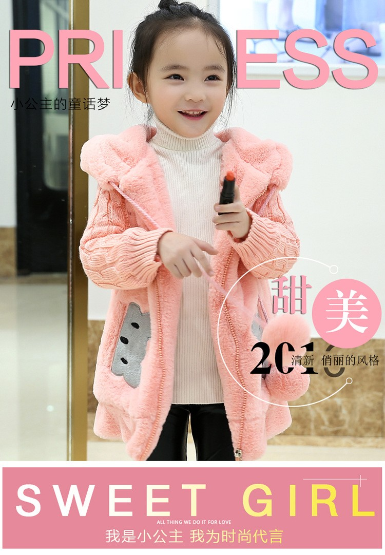3bcd02770 Baby Girls Sweaters Spell Cartoon Outwear Coat Children Hooded Thick ...