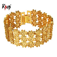 Kpop Three-layered Flower Bracelet Bangle Fashion Jewelry Gold/Silver Color Charm Bracelets & Bangles Gift For Women H867