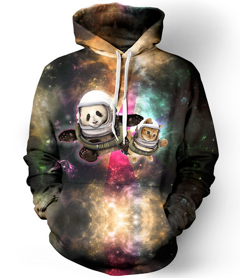 Women Men Fashion cat and panda astronaut pals galaxy 3D Hoodie Outerwear Harajuku style Loose Hooded Sweatshirt plus size