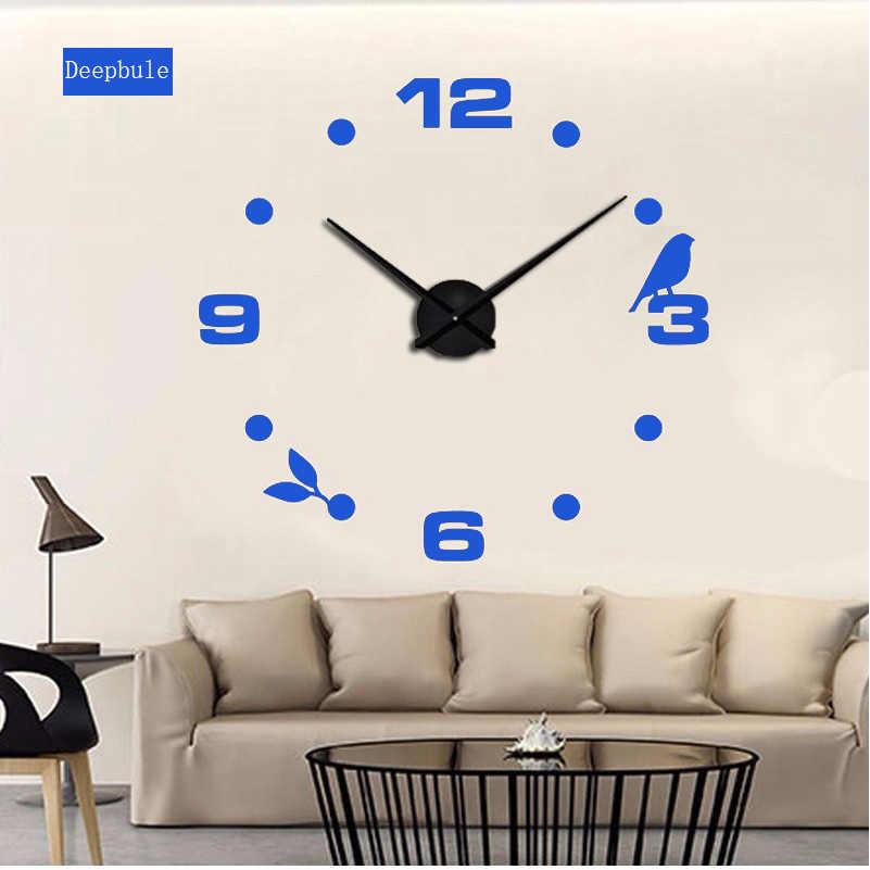 2019 nuevo gato negro pájaro cuarzo pared Relojes decoración del hogar orologo muro fábrica 2018 nuevo reloj creativo moderno para sala de estar de la pared