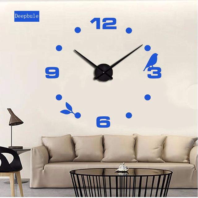 Black Black Cat bird Quartz Wall Clocks Home Decor Orologio muro  Factory 2017 New Modern DIY Livingroom Creative Watch Wall
