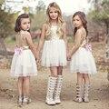 1 pc Moda Infantil Roupas de Verão Criança Bebê Menina Linda Arcos de Lantejoulas De Ouro Vestido Da Menina Das Crianças Lantejoulas Vestido Bolo de Festa 2-10Y