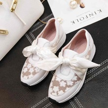 Krazing Pot genuine leather embroidery bowtie air mesh superstar round toe platform causal sweet women cozy vulcanized shoes 31